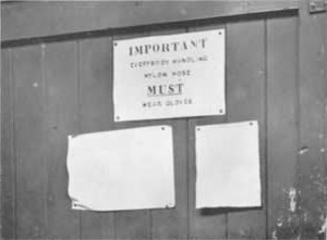 The notice on the door of the Drying and Boarding Department of the Dye Works